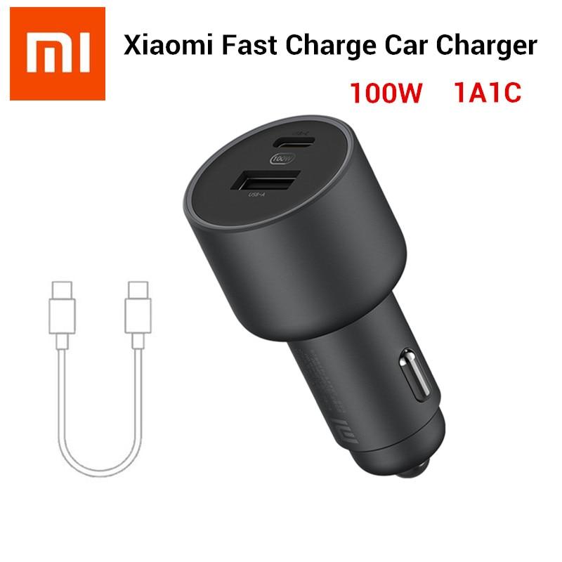 الأصلي Xiaomi 100W شاحن سيارة ثنائي USB سريعة تهمة مي سيارة شاحن USB-A USB-C الانتاج المزدوج LED ضوء مع 5A كابل