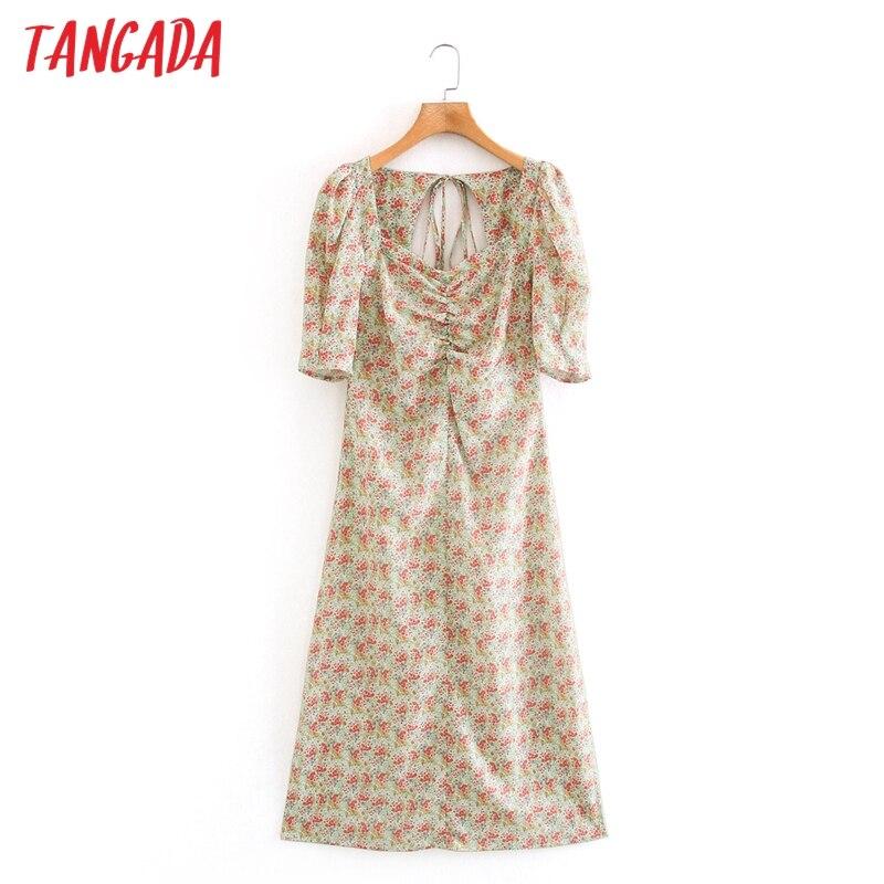 Tangada 2020 fashion women flowers print dress puff short sleeve backless bow ladies midi dress XN505