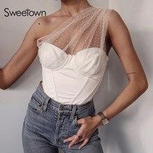 Sweetown Mesh Patchwork Skew Collar Crop Top Female Solid Summer Tshirt Off Shoulder Sexy Cropped Tee Shirt Women Streetwear