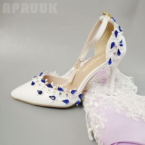 Ankle straps blue crystal rhinestones lace wedding pumps shoes for woman bride bridal point toes sexy thin high heels lace pumps