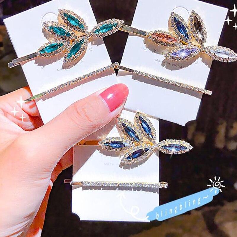 2 Pçs/set Folha Barrettes Grampos de Cabelo Branco Verde Azul Cristal Flor de Luxo Strass Hairpin Acessórios Para o Cabelo Das Mulheres de Diamante