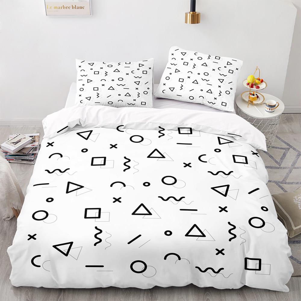 مجردة هندسية نمط حاف مجموعة غطاء مع المخدة ، الولايات المتحدة 173x218 غطاء لحاف ، 260 × 220 غطاء بطانية ، طقم سرير الملك الأبيض