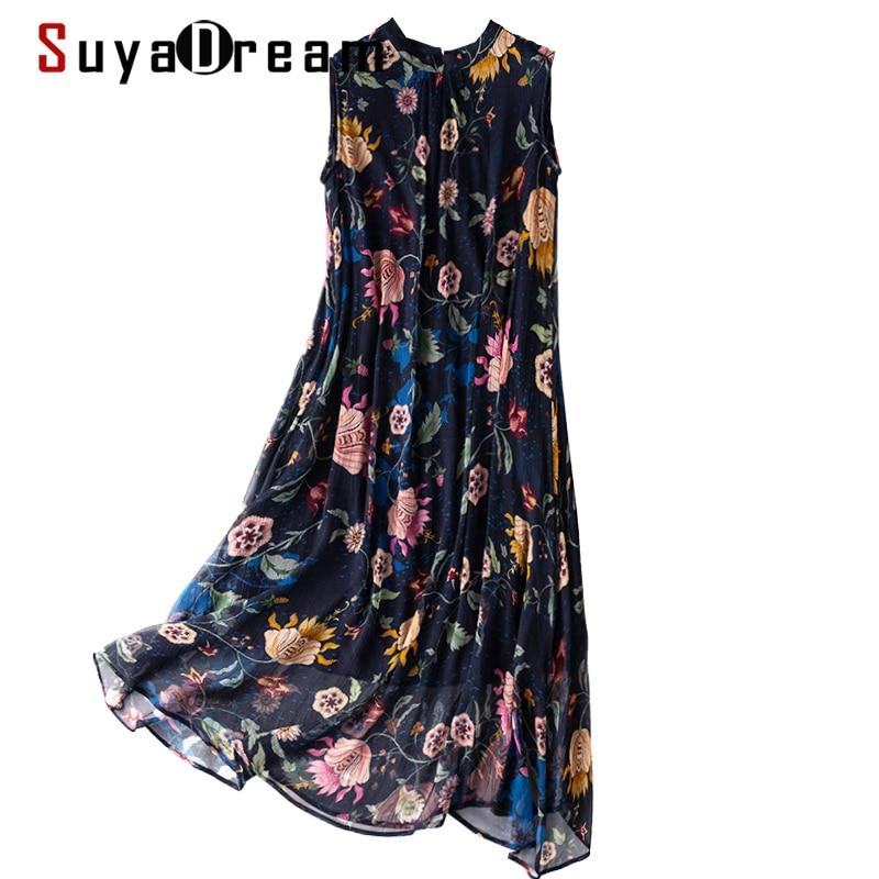 فستان حريمي من SuyaDream مُزين بنقشة الزهور موديل 100% من الحرير بتصميم جورجيت بدون أكمام فساتين متوسطة الطول موضة صيف 2021 فساتين على طراز الشاطئ