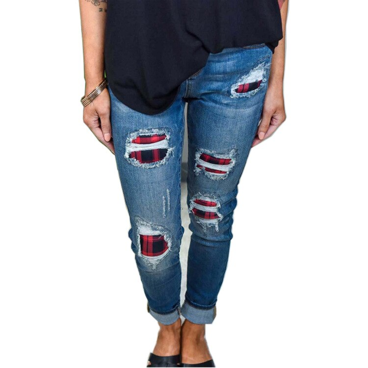 Женские рваные джинсы, однотонные женские джинсы, брюки, женские брюки, рваные джинсы, женские джинсы