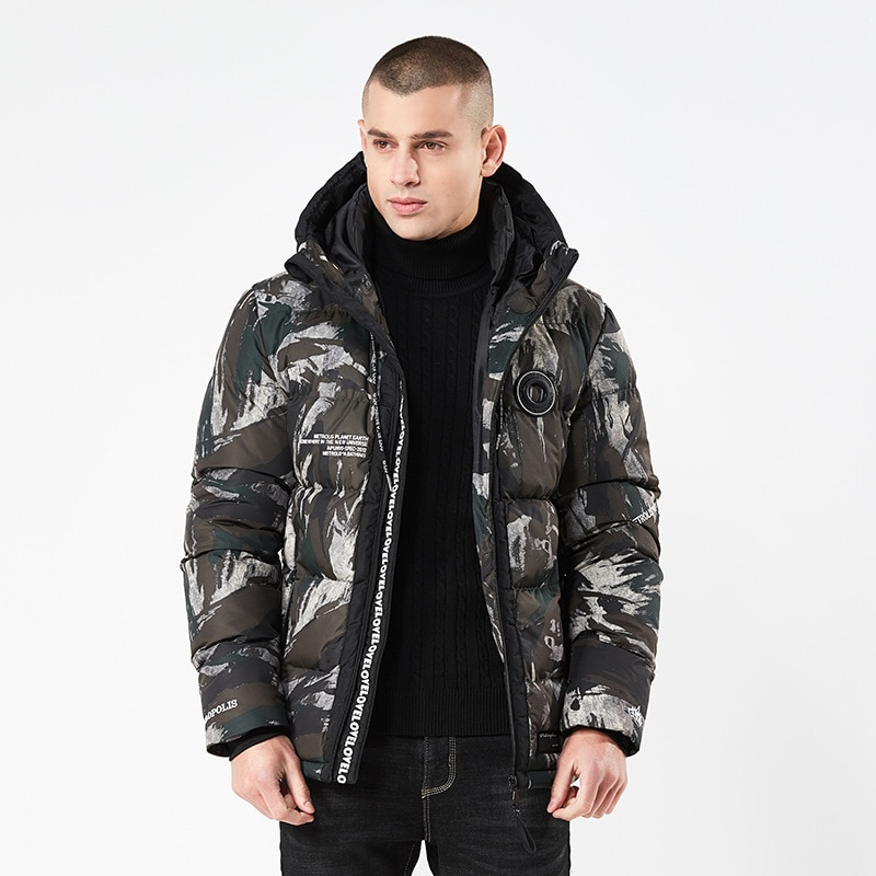 Autumn and winter  European and American personality men's hooded camouflage cotton coat men's cotton warm coat