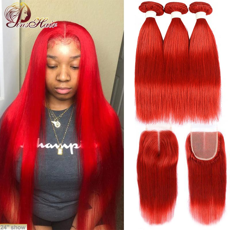 Red Bundles with Closure 99J Burgundy Straight Hair Brazilian Human Hair 3 Bundles with Closure Pinshair Remy Hair 10-26 inches