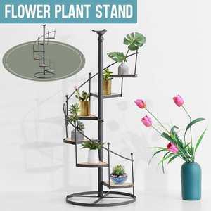 6 Layer Plant Stand Succulent Shelf Rack Balcony Indoor Garden Flower Pot Shelf Shoes Rack Book Shelf + Wood Plate Home Decor