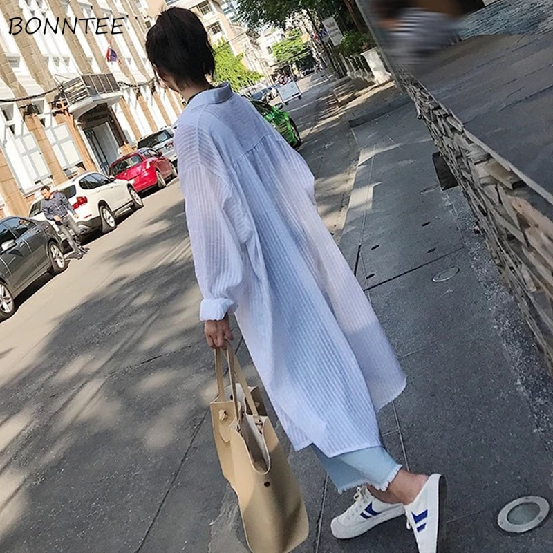 Camisas Mujer transpirable estilo coreano todo-fósforo Simple suelta ocio ropa de calle de moda mujer ropa de alta calidad novedad de verano
