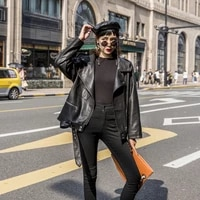 womens black leather jacket with belt spring 2021 korean loose motorcycle faux pu leather casual plus size streetwear outerwear