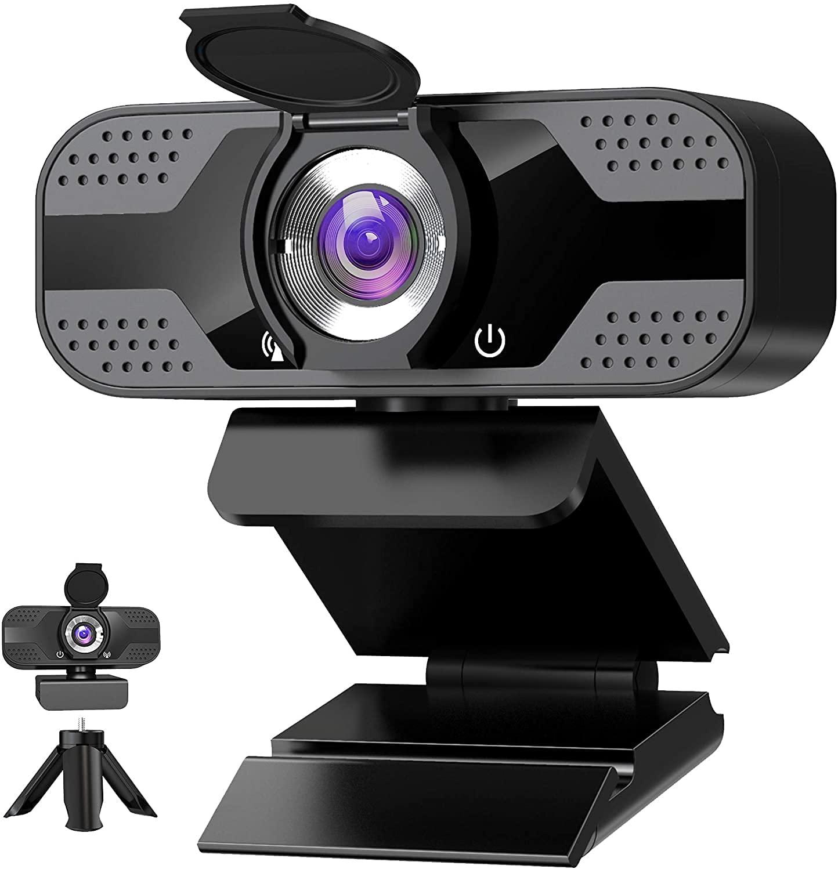 Веб-камера с микрофоном для рабочего стола, 1080P HD USB Компьютерные камеры с крышкой для конфиденциальности и штатив для веб-камеры, вебкамера ...