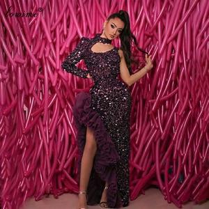Haute Couture Elegant Evening Dresses Long One Shoulder Dubai Prom Dresses Women Party Night Sexy Celebrity Dresses Vestidos