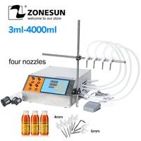 ZONESUN Semi-automatic Liquid Vial Filling Machine 4 Nozzles Bottle Water Filler For Juice Beverage Sauce Oil Perfume 3-4000ml