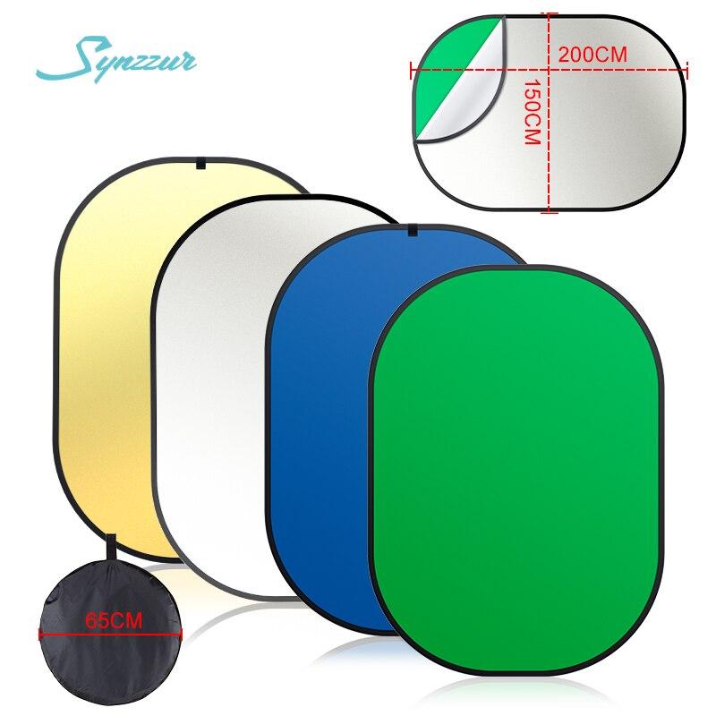 150*200cm 4 en 1 fotografía luz Oval foto Reflector múltiple disco portátil verde pantalla plegable estudio Reflector portátil