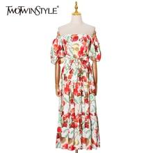 TWOTWINSTYLE Sexy Print Frühling Kleid Für Frauen Slask Neck Puff Hülse Hohe Taille Hit Farbe Midi Kleider Weibliche 2021 Mode neue