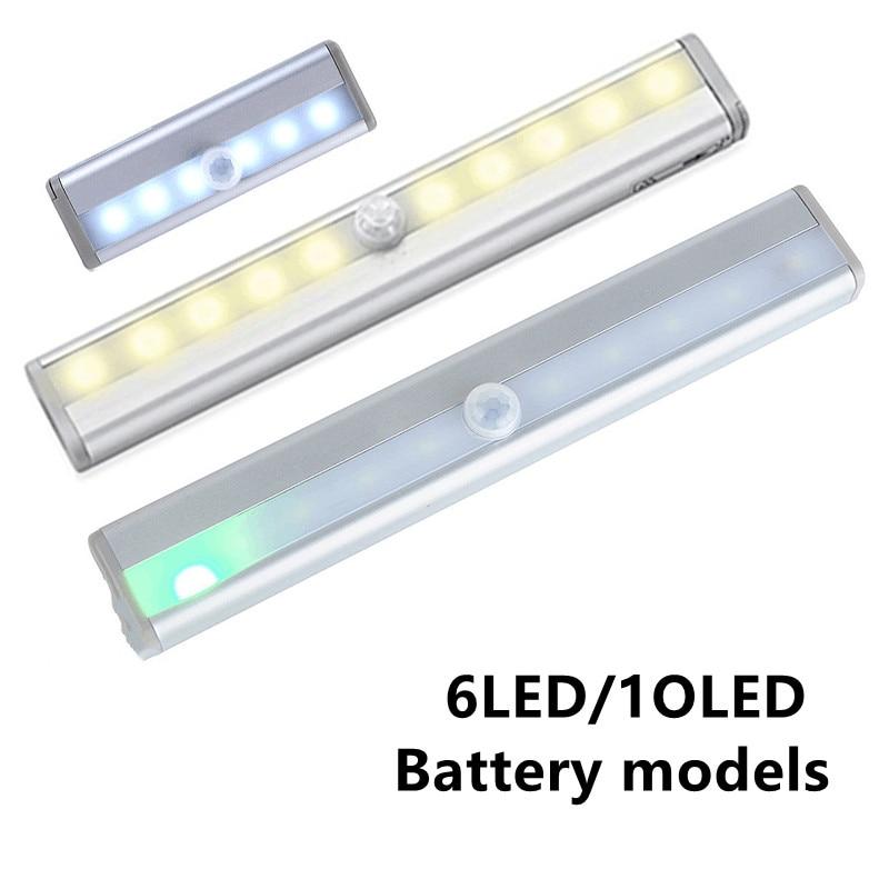 6/10 LEDs Cabinet Night Light PIR LED Motion Sensor Light, For Cupboard Under Wardrobe Bed Lamp For Closet Stairs Kitchen etc