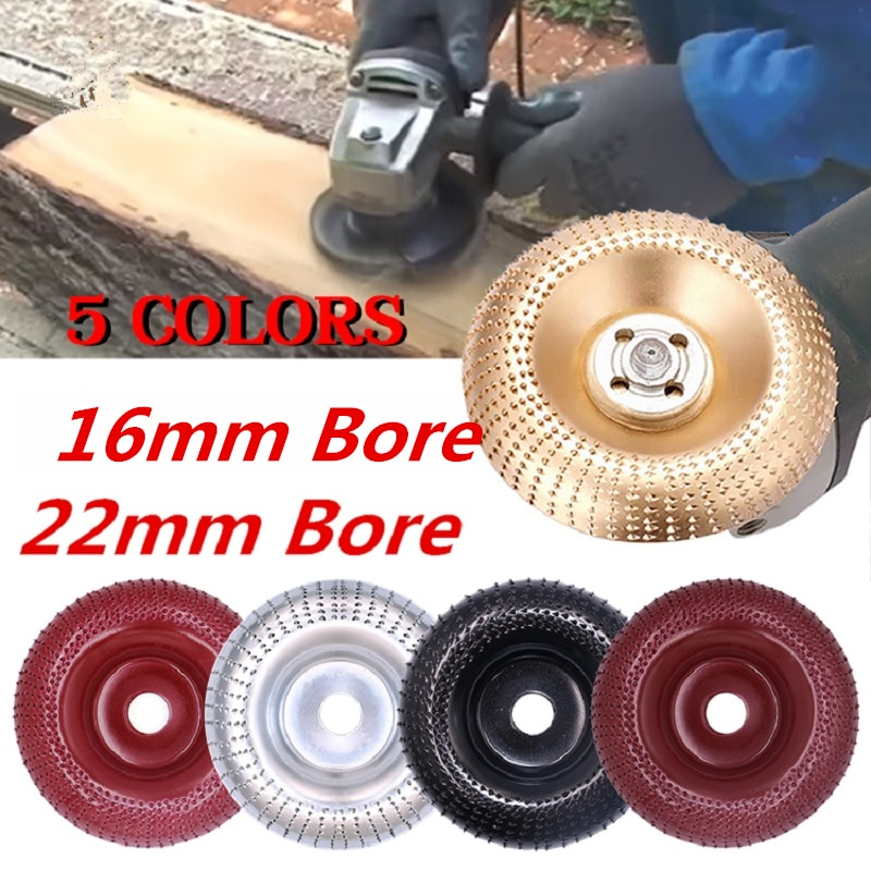 Round Wood Angle Grinding Wheel Abrasive Disc Angle Grinder Carbide Coating 16mm/22mm Bore Shaping Sanding Carving Rotary Tool