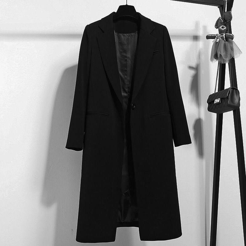 Hodisytian 2021 New Fashion Blazer For Women Long Style Black Suits Coat Chic Outerwear Blaser Long Sleeve Korean Version chic round neck long sleeve beaded coat for women