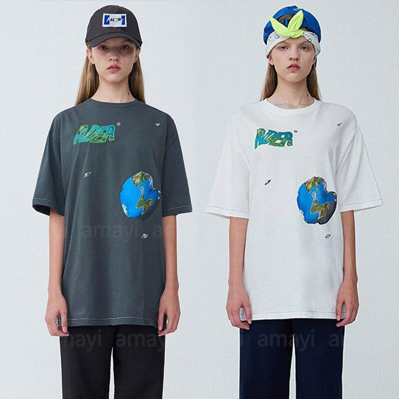 Camiseta con estampado de OVNI de nave espacial de Material grueso, camiseta de mejor calidad de Corea para hombre y mujer
