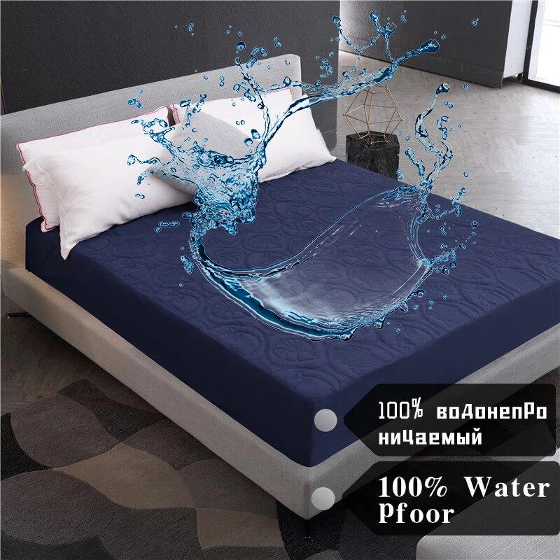 فراش مقاوم للماء غطاء فاخر شاشة واقية مفارش سرير المفرش الأبيض الأزرق سميكة ضمادة ناعمة
