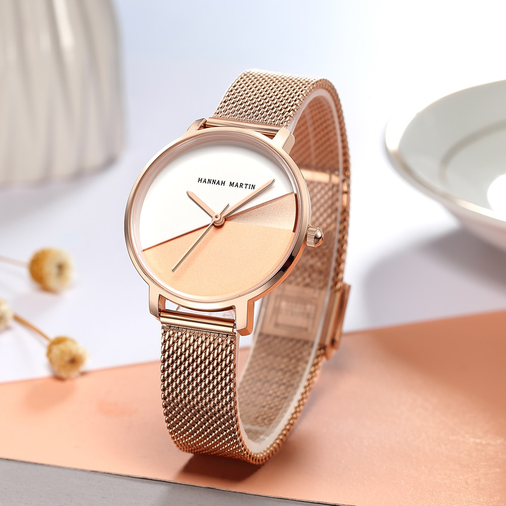 HM Quality Japan Movement Quartz Watch Stainless Steel Mesh Band Vintage Women Waterproof Ladies Ultra-thin WristWatch HM13 enlarge