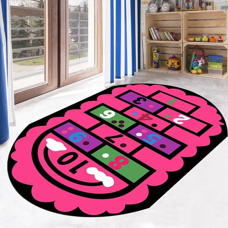سجادة لعب مطبوعة بيضاوية للأطفال مانعة للانزلاق سجادة ناعمة للأطفال لعبة تسلق السجاد السجاد لغرفة النوم غرفة المعيشة