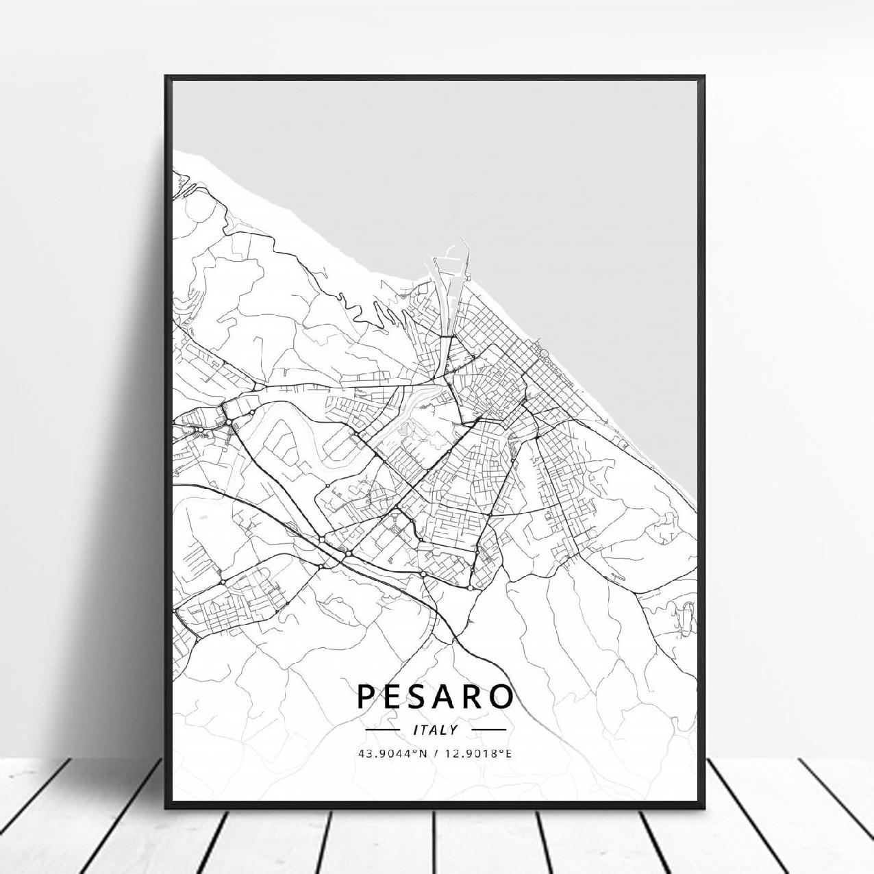 Póster Artístico de Pesaro Messina, mapa de Florencia, veneciana, Amalfi, Brescia, Italia