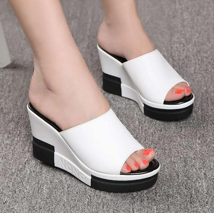 2020 Fashion Flip Flops Women shoes Slippers Platform Summer Shoes Open Toe Wedges Sandals Ladies Shoes women Plus Size 35-40