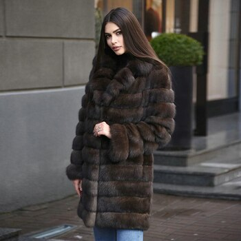 Dark Sable Color Real Fox Fur Coats for Woman Winter Fashion High Quality Fur Overcoats Luxury Women Genuine Fox Fur Coat Long