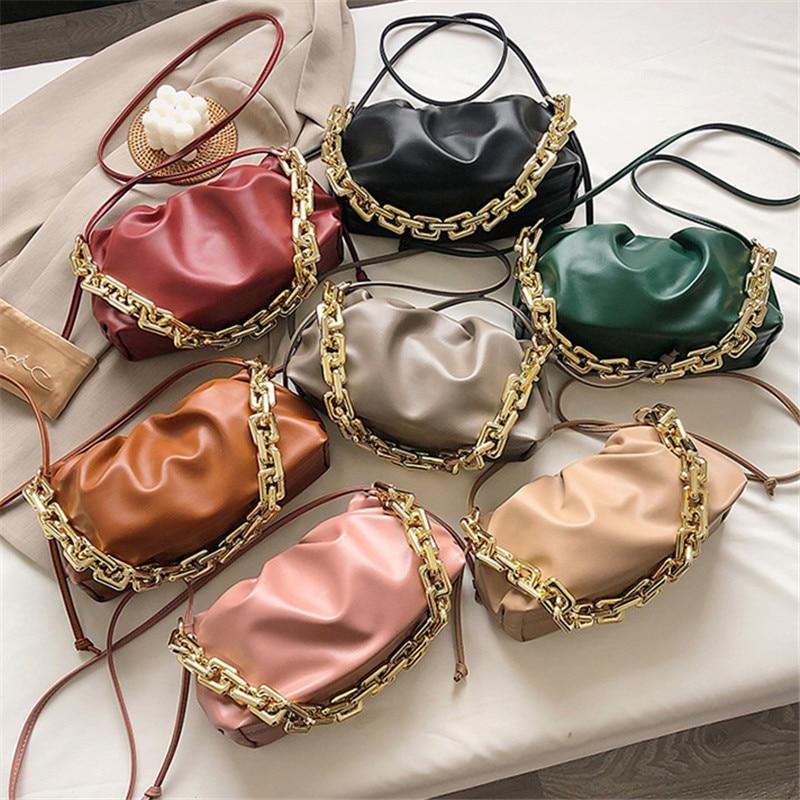TOYOOSKY Thick Gold Chains Crossbody Bag Day Clutch Clip Purse Women Cloud Underarm Shoulder Bag Pleated Baguette Shape Handbag