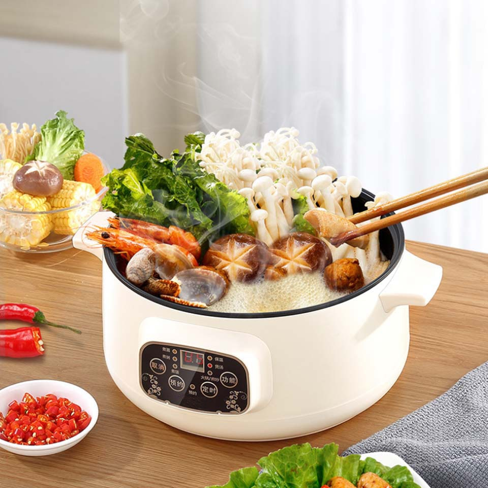 Multifunctional Electric Cooker 220V Heating Pan Electric Cooking Pot Machine Hotpot Noodles Eggs Soup Steamer mini rice cooker multifunctional rice cooker 400w low power mini household electric cooker