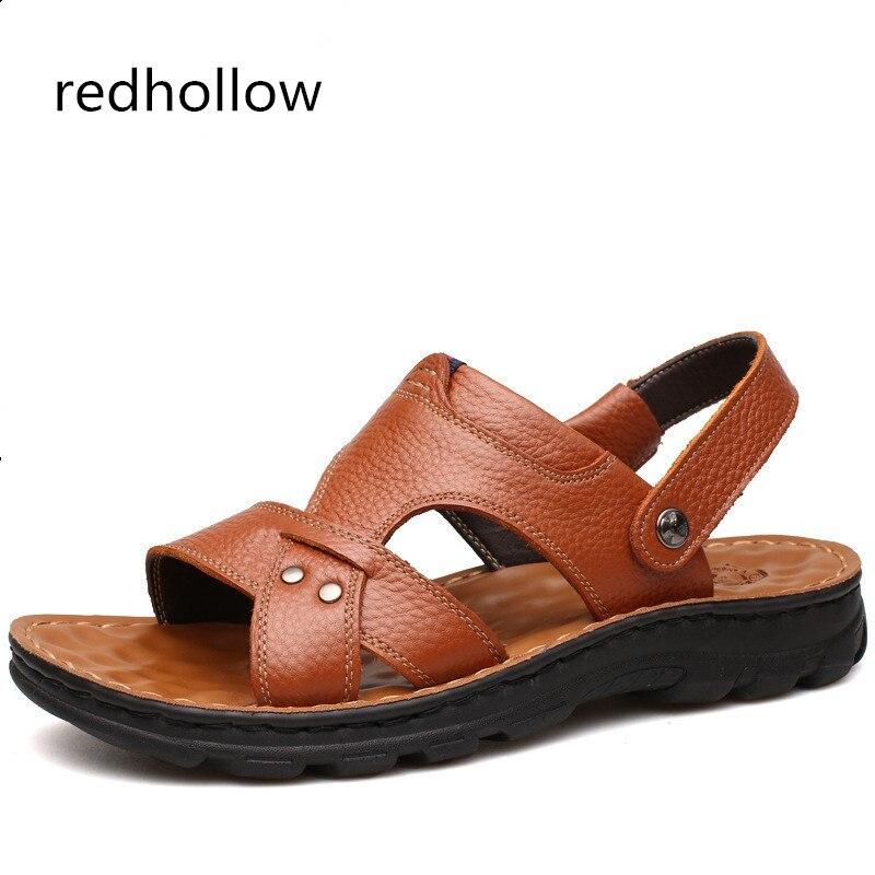 summer men sandals breathable beach shoes hook 2018 Summer Men Sandals Cow Leather Men Summer Beach Sandals Breathable Shoes Fashion Men Shoes Comfortable