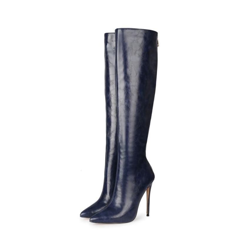 أحذية نسائية جديدة ، أحذية شتوية وخريفية بطول الركبة ، مقدمة مدببة ، كعب عالي ، مقاس كبير