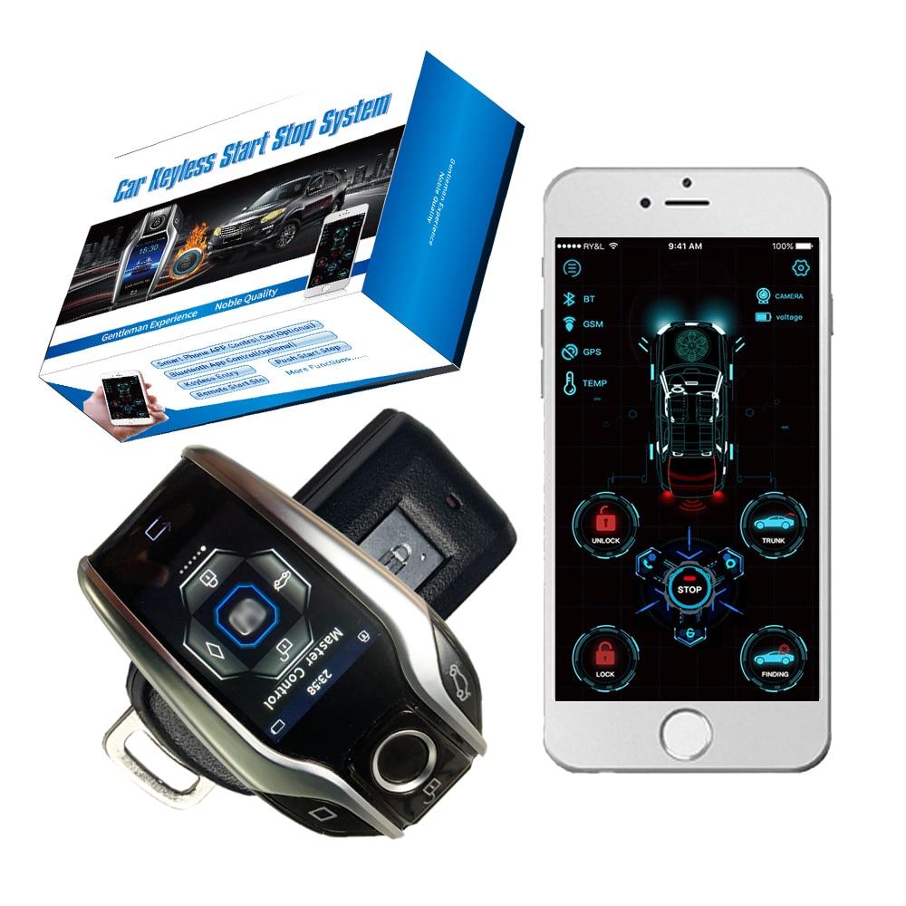 Cardot Passive Keyless Liquid Crystal Key Entry Start Stop Ignition System App Control Starter Car Al