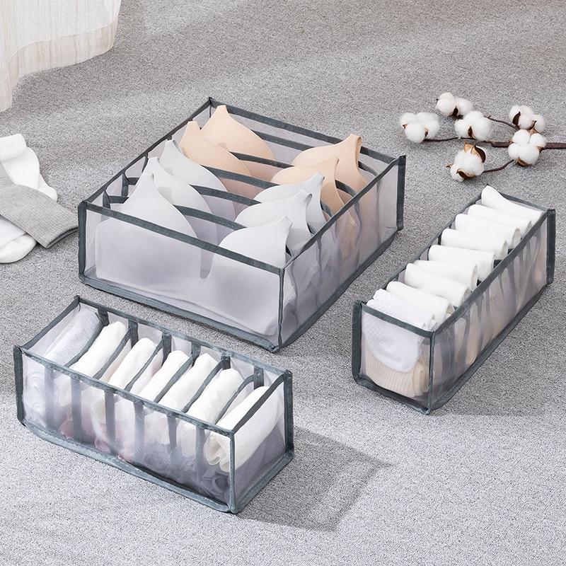 Bra storage box underwear clothes storage bag drawer nylon partition closet storage bag folding tie socks shorts storage bag