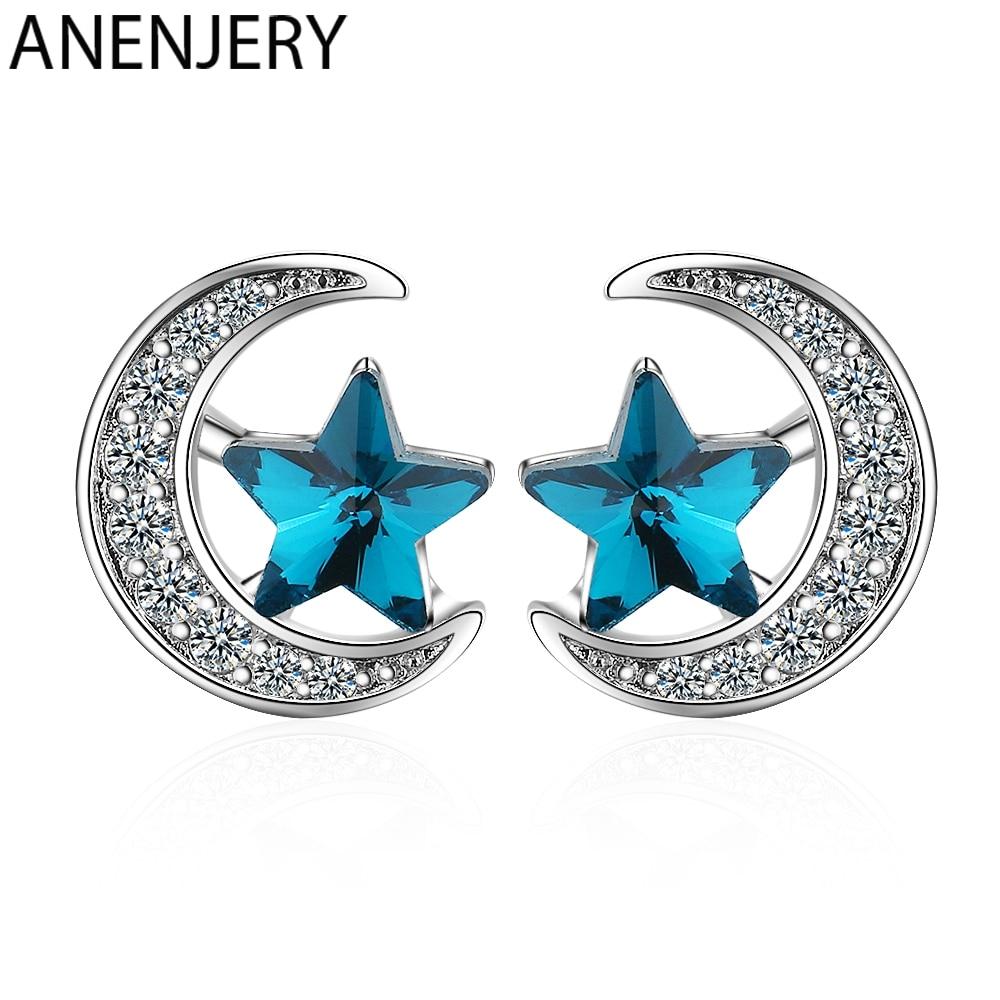 Pendientes de Luna estrella anenjary simples azules para mujeres 925 plata esterlina cristal circón mejor regalo de aros S-E916