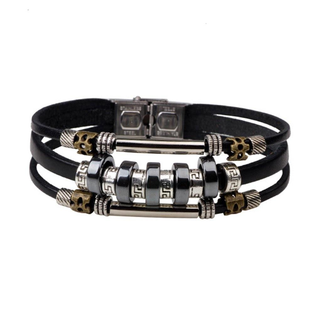 Multi-Pulsera piel capas Vintage Bohemia madera encerado cordón brazalete pulseras con cuentas brazalete para hombres y mujeres