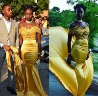 black girls yellow mermaid prom dresses off the shoulders lace appliques customize formal south african evening party gowns