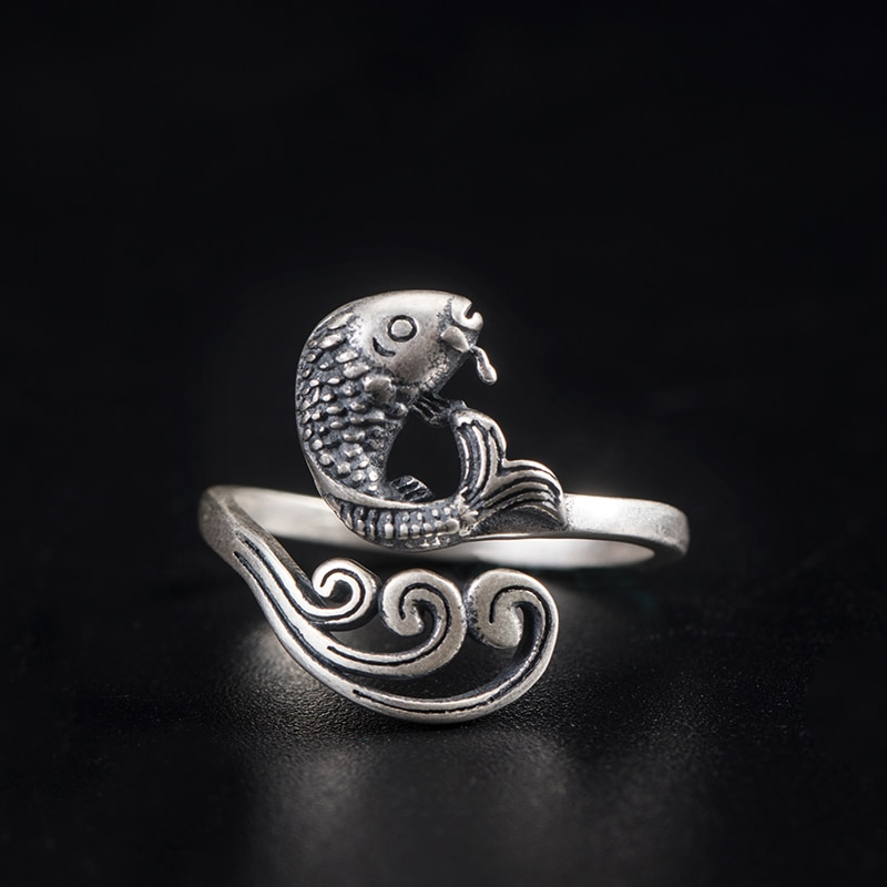 VLA 925 Sterling Silver Creative Chinese Style Wave Koi Ring For Women's Retro Design Fish Ring Punk