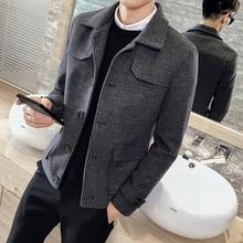 Men's cotton coat 2019 autumn and winter short woolen jacket jacket fashion windbreaker youth personality fashion men's clothing