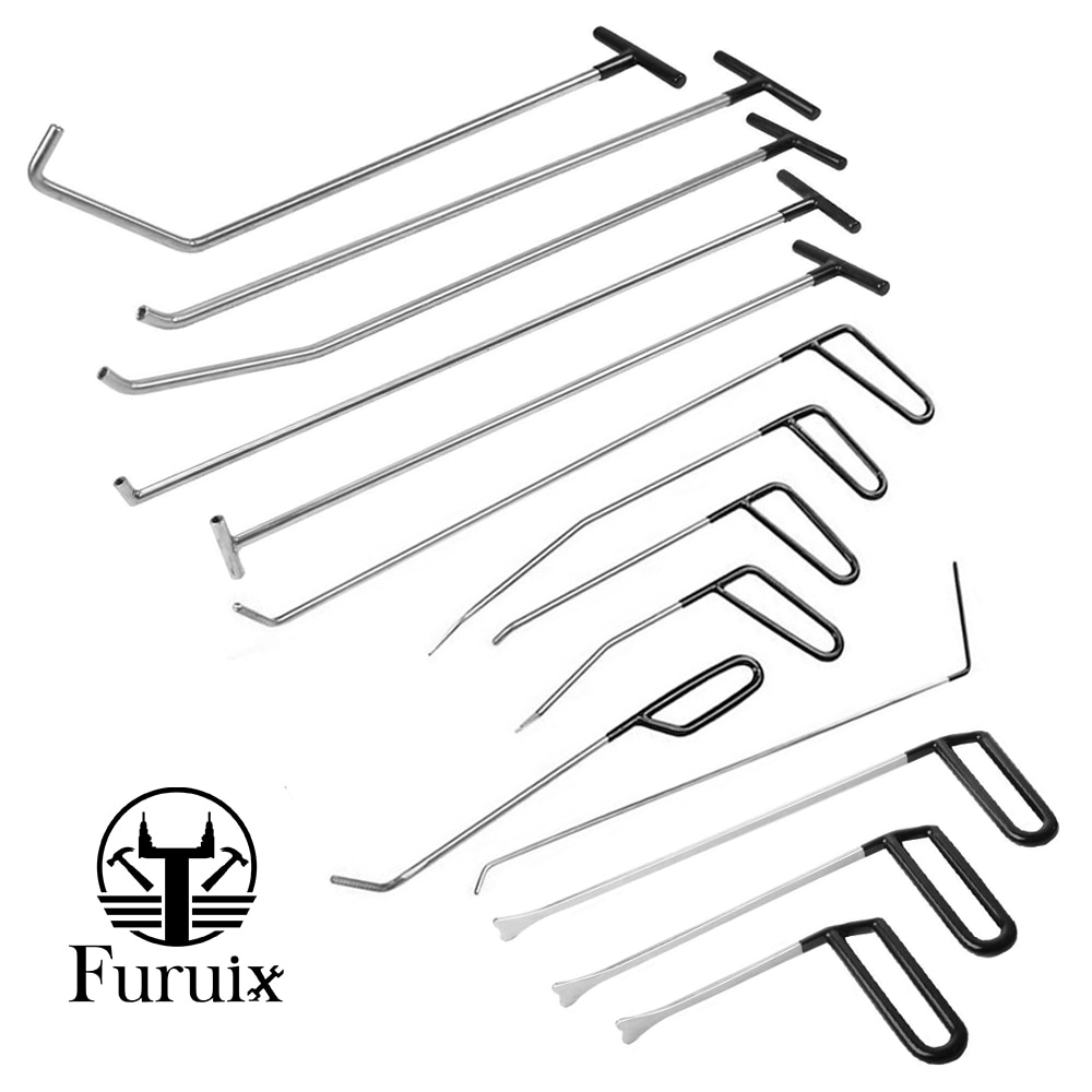 FURUIX Rods Tools Paintless Dent Repair Kits S-Hook for Car Auto Body Dents Hail Damage Removal Set Stainless Steel HAND TO