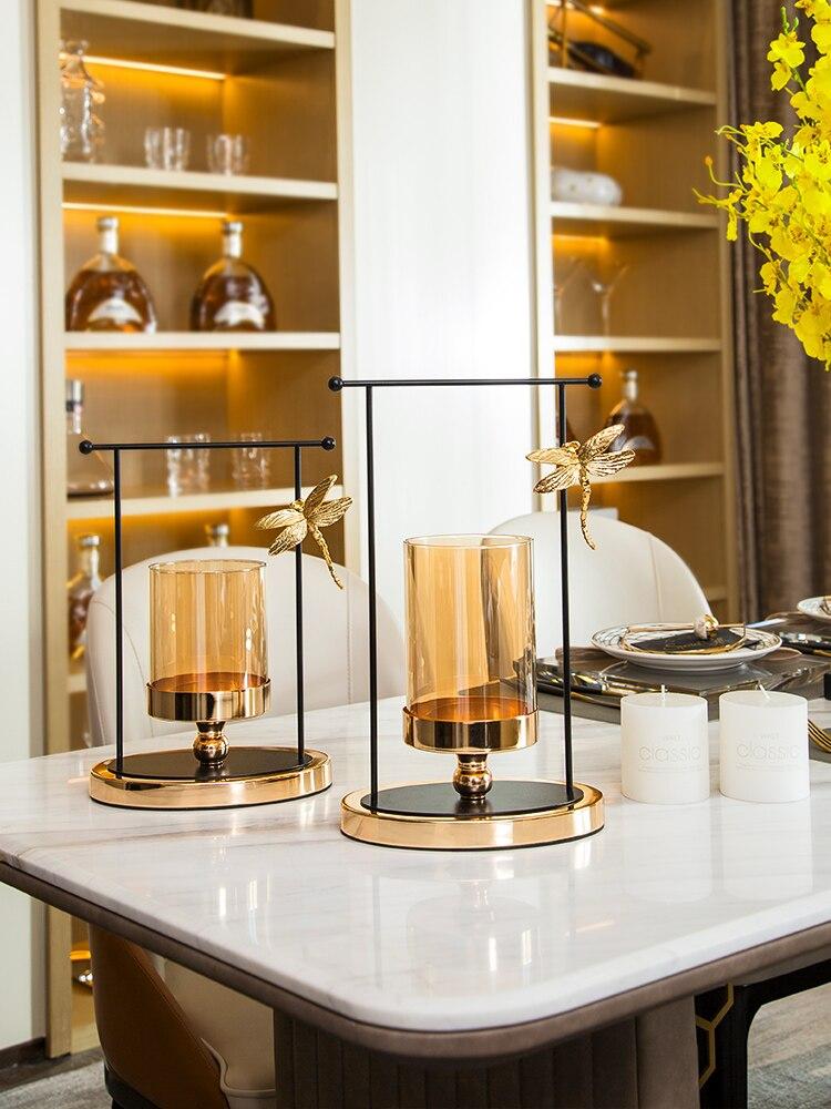 Candelabro De Cristal De lujo para decoración del hogar, Portavelas De Metal...