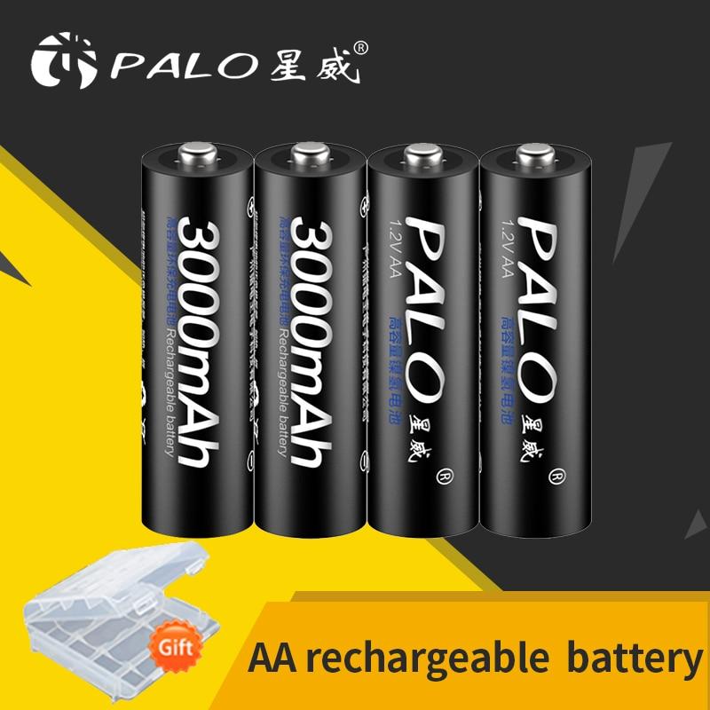 PALO AA Аккумуляторная батарея 1,2 V AA 3000mAh Ni-MH предварительно Заряженная аккумуляторная батарея 2A батареи для камеры микрофон игрушка