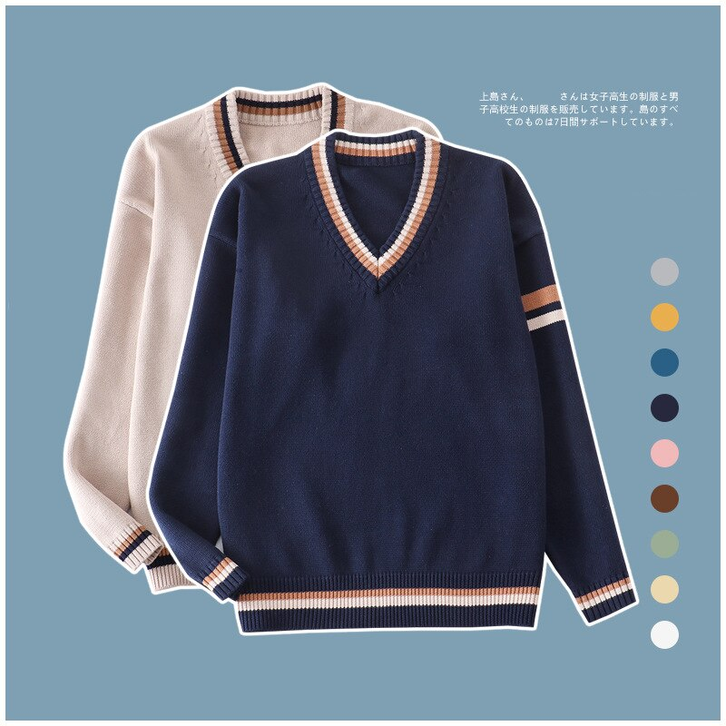 Oversized 100% Cotton Long Sleeve Knit Pullover with Knit V-neck Patchwork Colour Boys/Girls School Uniform Sweater Clothing