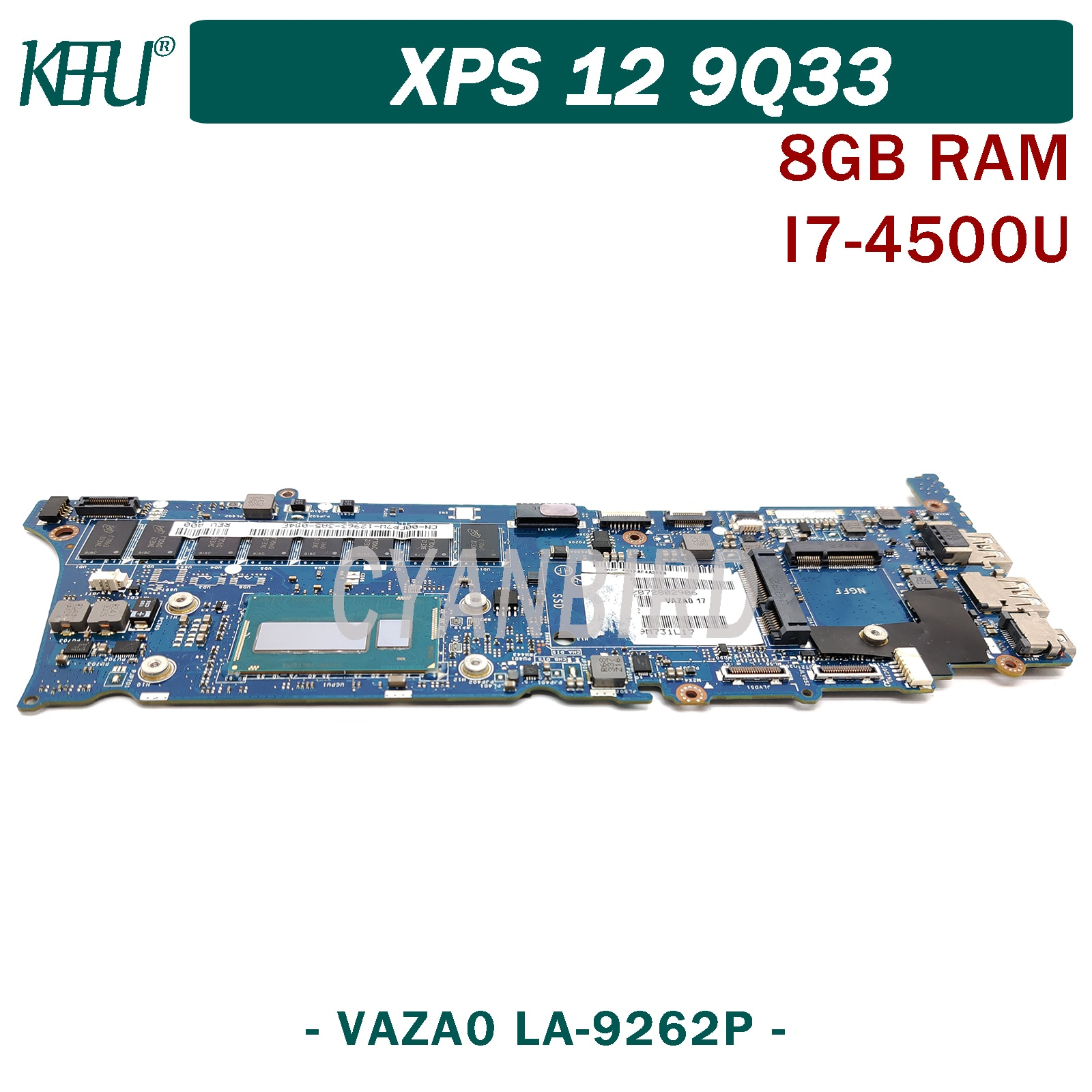 KEFU VAZA0 LA-9262P اللوحة الرئيسية الأصلية لديل XPS-12-9Q33 مع 8GB-RAM I7-4500U اللوحة الأم للكمبيوتر المحمول