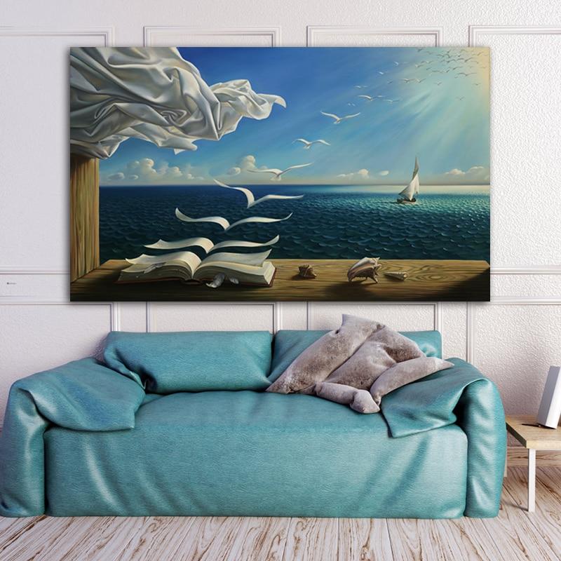 Художественная Настенная картина RELIABLI с морскими волнами, книжный пейзаж, холст, картина, украшение для комнаты, картина для дома, куадро кв...