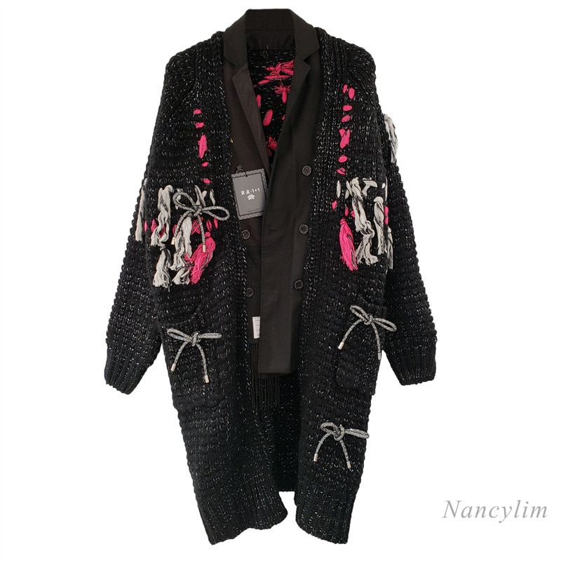 Nancylim 2020 Autumn and Winter Female Loose Long Cardigan Fashion Tide Tassel V Neck Hand Embroidery Casual Women's Knit Coat enlarge