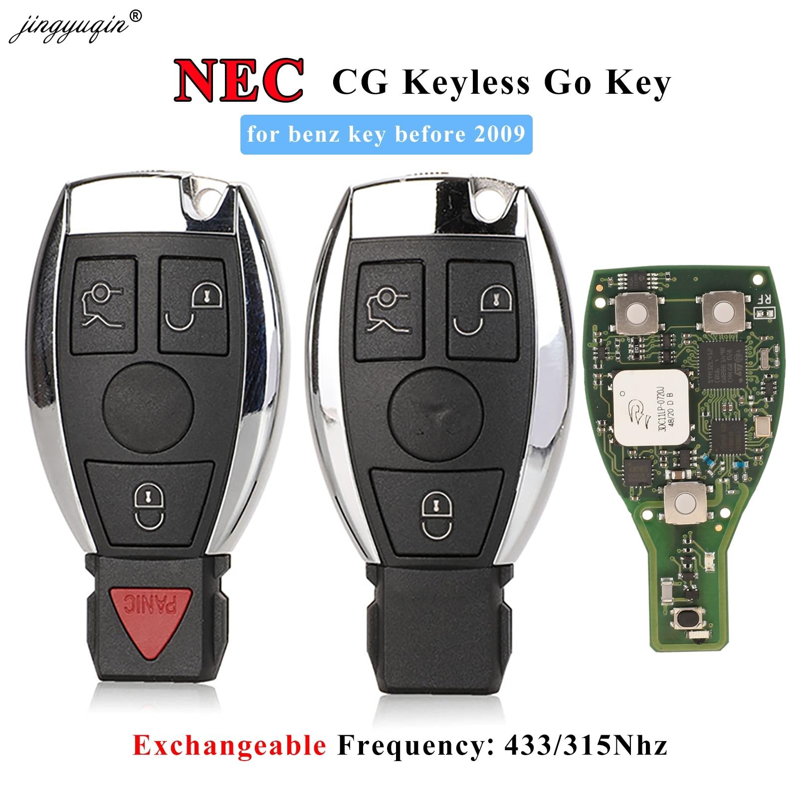 Jingyuqin NEC بدون مفتاح الذهاب البعيد مفتاح فوب 3 زر بغا نمط ترقية لمرسيدس بنز قبل 2009 315mhz 433MHz تبادل CG