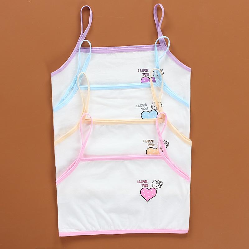 3 piezas/lote algodón niñas jóvenes sujetador de entrenamiento sujetador niñas Condole, Chaleco de cinturon niños Bra camisola 8-14Y