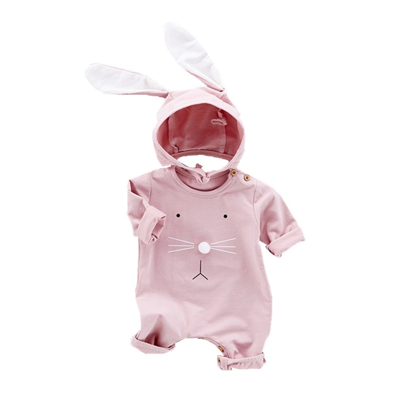 Boy Girl Rabbit Halloween Christmas Hooded Romper Toddler One Piece Solid Color Outfit Long Sleeve P