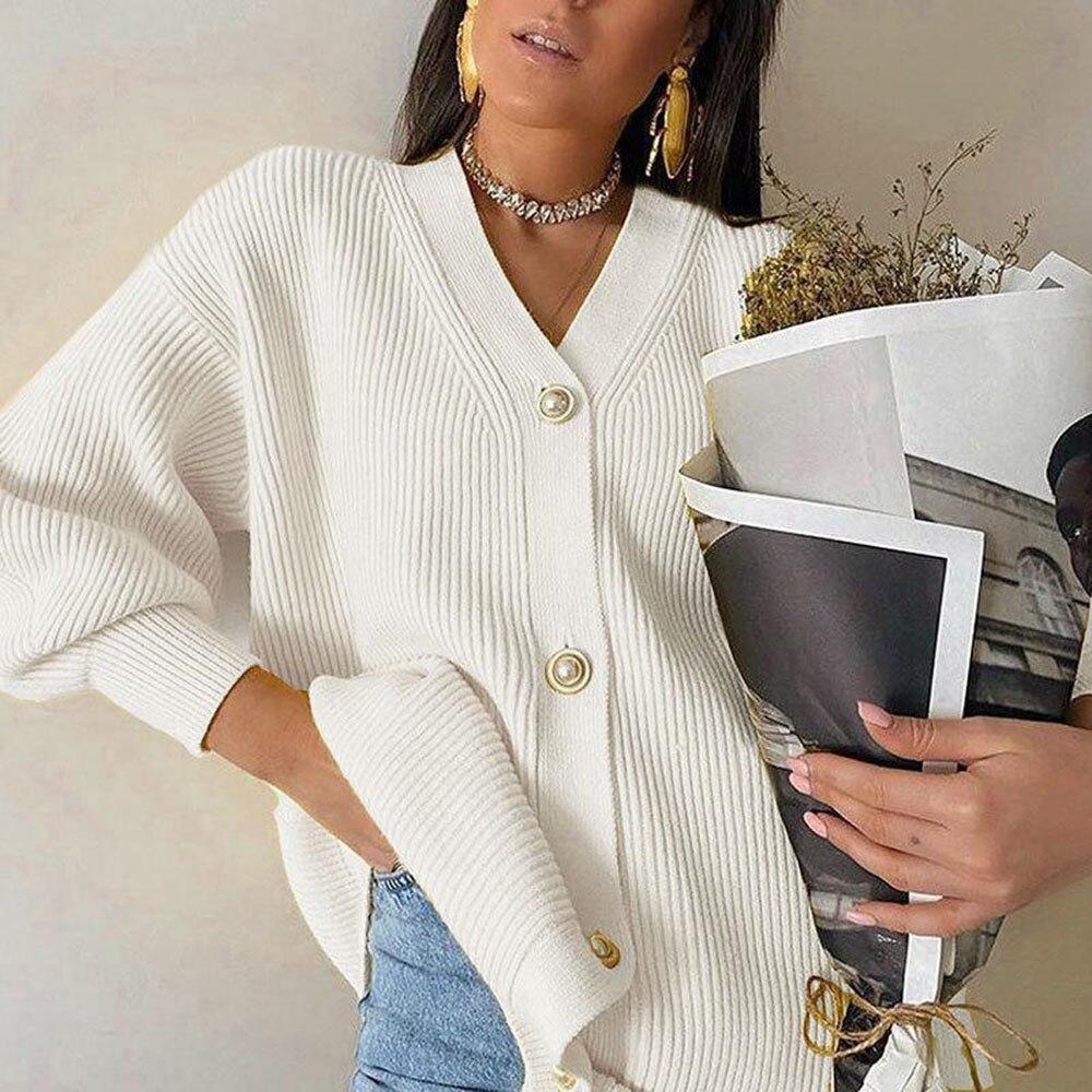 2021 nowy sweter płaszcz kobiety Solid Color Casual Solid Color Casual prostota z długim rękawem kobiety dzianinowy kardigan
